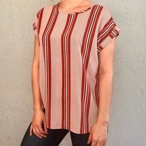 Marci Mauve and White Stripped Blouse